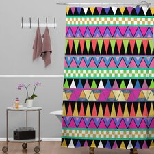 Bianca Woven Polyester Zigzag Shower Curtain