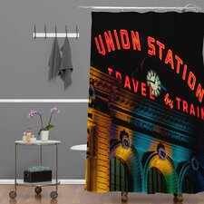 Bird Wanna Whistle Woven Polyester Union Station Shower Curtain