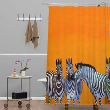 Clara Nilles Woven Polyester Candy Stripe Zebras Shower Curtain