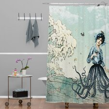 Belle13 Woven Polyester Sea Fairy Extra Long Shower Curtain