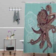 Valentina Ramos Woven Polyester Octopus Bloom Extra Long Shower Curtain