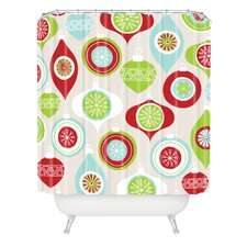 Andrea Victoria Jolly Ornaments Woven Polyester Shower Curtain