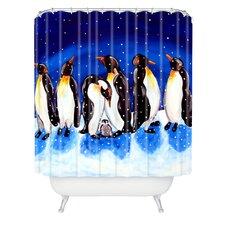 Renie Britenbucher Penguin Party Woven Polyester Shower Curtain