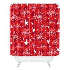 Julia Da Rocha Snow and Stars Woven Polyester Shower Curtain