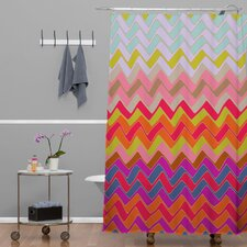 Sharon Turner Geo Chevron Woven Polyester Shower Curtain