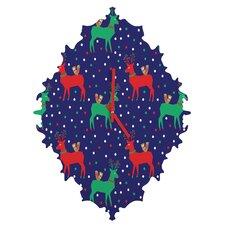 Zoe Wodarz Geo Pop Deer Blue Wall Clock