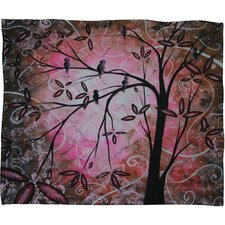 Madart Inc. Cherry Blossoms Polyester Fleece Throw Blanket