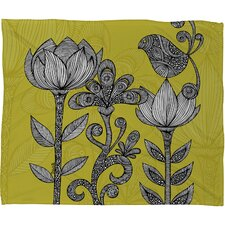Valentina Ramos Green Garden Polyester Fleece Throw Blanket