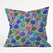 Bianca Green Roses Indoor/Outdoor Polyester Throw Pillow