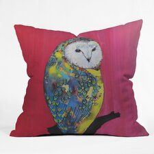 Clara Nilles Owl on Lipstick Woven Polyester Throw Pillow