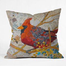 <strong>DENY Designs</strong> Elizabeth St Hilaire Nelson Cardinal on White Polyester Throw Pillow