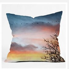 Bird Wanna Whistle Bird Line Woven Polyester Throw Pillow