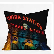 Bird Wanna Whistle Union Station Woven Polyester Throw Pillow