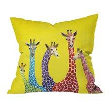 Clara Nilles Jellybean Giraffes Throw Pillow in Yellow