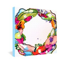 CayenaBlanca Floral Frame Gallery Wrapped Canvas