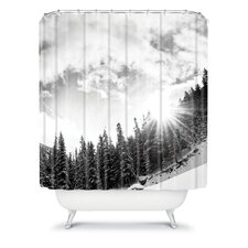 Bird Wanna Whistle Woven Polyester White Mountain Shower Curtain