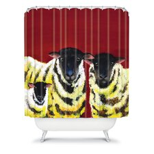 Clara Nilles Woven Polyester Lemon Spongecake Sheep Shower Curtain