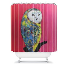 Clara Nilles Woven Polyester Owl On Lipstick Shower Curtain