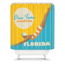 Anderson Design Group Woven Polyester Dive Florida Shower Curtain