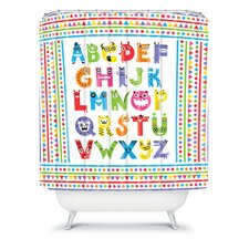 Andi Bird Woven Polyester Alphabet Monsters Shower Curtain