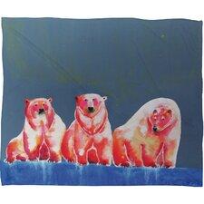 Clara Nilles Polarbear Blush Plush Fleece Throw Blanket