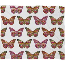 Bianca Green Butterflies Fly Polyester Fleece Throw Blanket