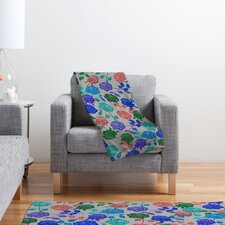 Bianca Green Roses Polyester Fleece Throw Blanket