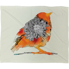 Iveta Abolina Orange Bird Polyester Fleece Throw Blanket
