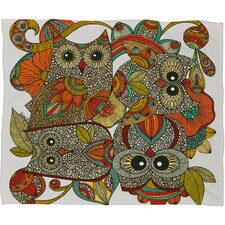Valentina Ramos 4 Owls Polyester Fleece Throw Blanket