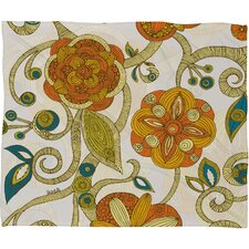 <strong>DENY Designs</strong> Valentina Ramos Orange Flowers Polyester Fleece Throw Blanket