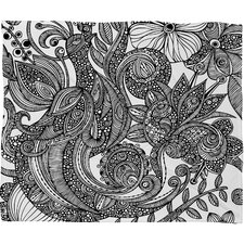 <strong>DENY Designs</strong> Valentina Ramos Bird in Flowers Black White Polyester Fleece Throw Blanket