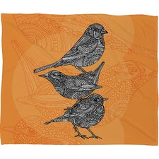 Valentina Ramos 3 Little Birds Polyester Fleece Throw Blanket