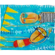 Robin Faye Gates Swimming Is Hard Polyester Fleece Throw Blanket