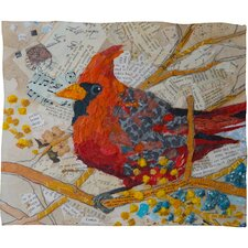 Elizabeth St Hilaire Nelson Cardinal On White Polyester Fleece Throw Blanket