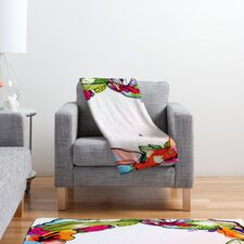 CayenaBlanca Floral Frame Polyester Fleece Throw Blanket