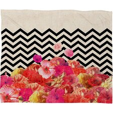 Bianca Green Chevron Flora 2 Polyester Fleece Throw Blanket