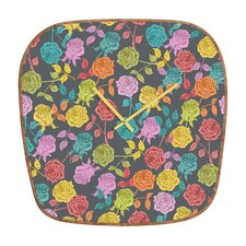 Bianca Green Roses Wall Clock