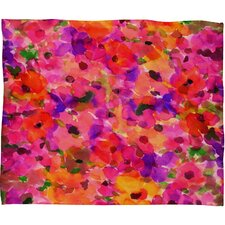 Amy Sia Fleur Rouge Polyesterrr Fleece Throw Blanket