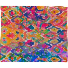 Amy Sia Watercolour Ikat 3 Polyesterrr Fleece Throw Blanket
