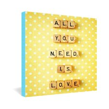 <strong>DENY Designs</strong> Happee Monkee All You Need Is Love 1 Gallery Wrapped Canvas