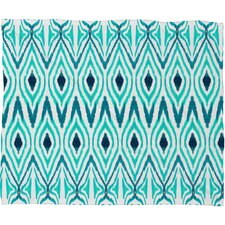Amy Sia Ikat Jade Polyesterrr Fleece Throw Blanket