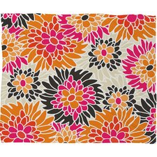 Andrea Victoria Summer Tango Floral Polyesterrr Fleece Throw Blanket