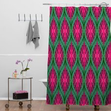 Wagner Campelo Polyester Ikat Leaves Shower Curtain