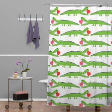 Andi Bird Woven Polyester Alligator Love Shower Curtain
