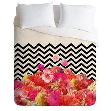 Bianca Green Chevron Flora 2 Piece Microfiber Duvet Cover Set