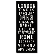 European Cities Textual Art on Canvas
