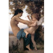 Young Girl Defending Herself against Eros by William - Adolphe Bouguereau Painting Print on Canvas