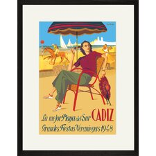 Cadiz la Mejor Playa del Sur Framed Vintage Advertisement