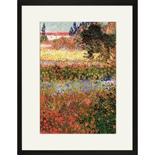 Flowering Garden with Path Framed Painting Print