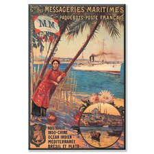 Messageries Maritimes French Cruise Line Ports: Australia, Indochina, Indian Ocean, Mediterranean, Brazil Vintage Advertisement on Canvas